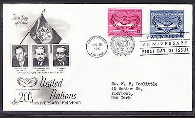 "United Nations ""Artcraft"" 1965 - 20th Anniversary  FDC addressed"