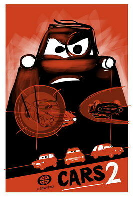"018 Cars - Pixar Lightning McQueen Cartoon Movie 14""x21"" Poster"
