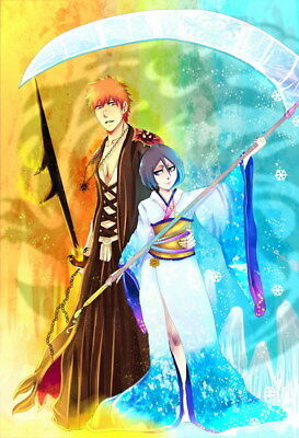"099 Bleach - Dead Rukia Ichigo Fight Japan Anime 14""x20"" Poster"