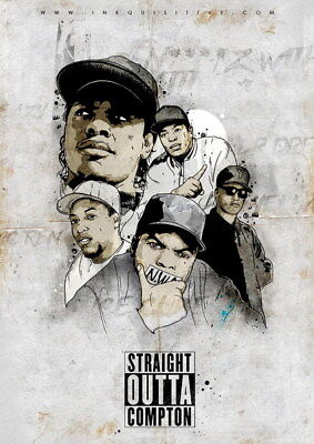 """066 Straight Outta Compton - Ice Cube MC Ren HIPHOP Moive14""""x19"""" Poster"""