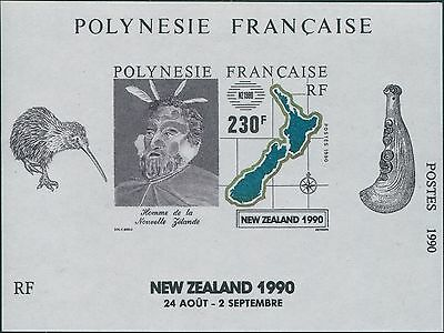 French Polynesia 1990 SG594 New Zealand Man and Map MS MNH