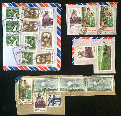 India stamps on paper with postmarks....