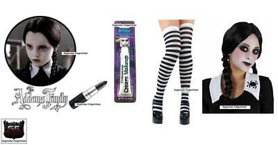 HALLOWEEN Wednesday Addams Costume Stripe Socks Paint Lipstick Wig Fancy Dress