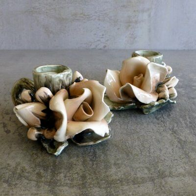 2 Vintage handcrafted pottery candle holders Blush Pink Roses Signed Flowers