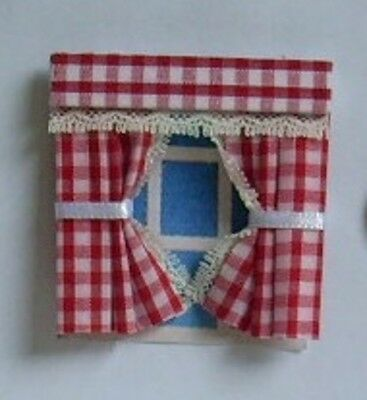 DOLLS HOUSE CURTAINS  RED GINGHAM 1.24th scale. Lundby?