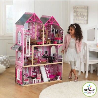 Girls Wooden Dollhouse KidKraft Bella Inc 16 Pieces of Furniture Role Play Toys
