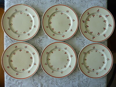 MYOTT ENGLAND 25 cm DINNER PLATE x 6 PUSSY WILLOW HANDPAINTED RED M269F 1930+