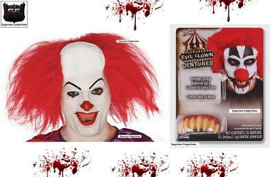 HALLOWEEN Evil IT Clown Spiked Teeth & Bald Wig Realistic Killer Clown