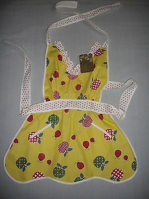 Apples And Ladybirds Yellow Girls 4-10 Retro 60's Caprice Brand Bib Apron Nwt