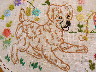 PLAYFUL PUPPIES Vintage Hand Embroidered Large Doily or Table Centre