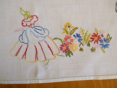 SPRINGTIME CRINOLINE LADY Vintage Hand Embroidered XLge Tray Cloth Table Centre
