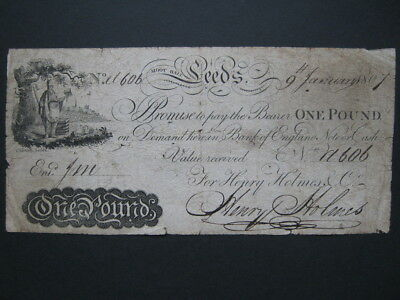 GB Provincial banknote Leeds Moot Hall 1807 One Pound £1