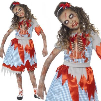 Zombie Country Girl Dorothy Costume Horror Fairytale Halloween Fancy Dress Kids