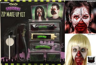 Horror Zip Zipper Flesh Face Makeup kit Blood Face Paint Scary Halloween Zombie