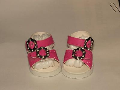 Shoes To Fit The American Galoob Baby Face Girl Doll Hot Pink Buckle Sandal