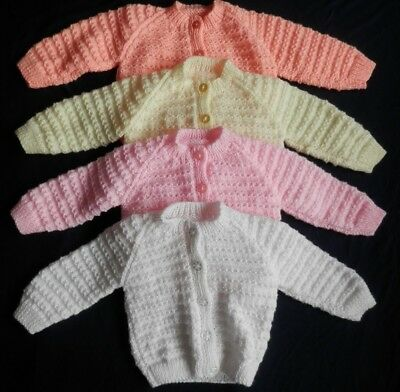 Hand knitted baby cardigan. 9-12 months. Various colours available.