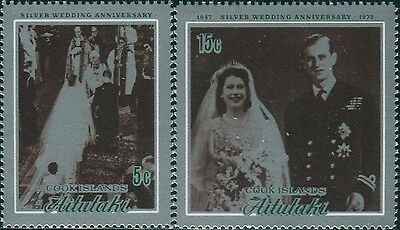 Aitutaki 1972 SG46-47 Silver Wedding set MNH