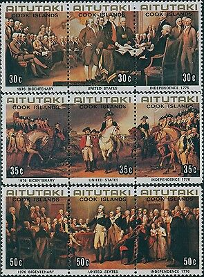 Aitutaki 1976 SG180-188 USA Bicentenary set MNH