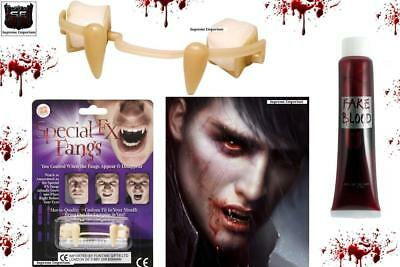 FX Fangs Special Retractable Vampire Teeth & Blood Halloween Fancy Dress Costume