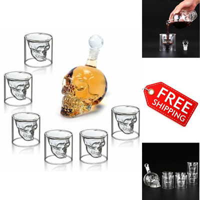 Skull Carafe Whiskey Sherry Wine Brandy Liquor Decanter Set w/ 6 Shot Glasses