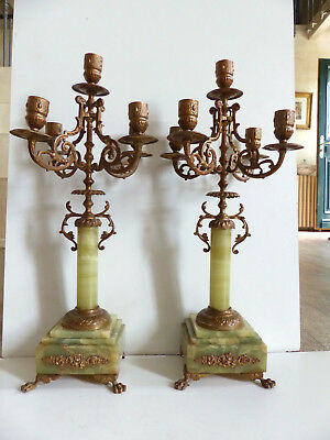 SUPERB PAIR of ANTIQUE 19th. CENTURY FRENCH ONYX & BRONZE CANDELABRA 1880's 17 ""