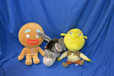 Dreamworks Big Headz 3 x Stofftier Gingerbread Shrek Esel Plüschset 2010