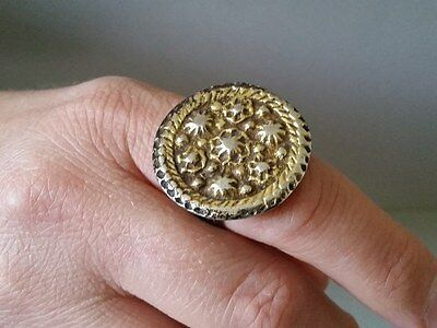 ANTIQUE AUTHENTIC Ottoman - Early XIXc. handmade silver alloy RING with gilding