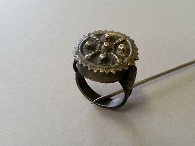 TOP PRICE! BULKY ANTIQUE AUTHENTIC Ottoman silver-copper alloy ring 19th century