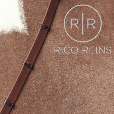 Rico Reins Biothane Smooth Eventa Grip Reins Leather Stoppers Black Brown