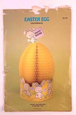 Vintage American Greetings Honeycomb Easter Egg Centerpiece Decoration Yellow
