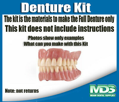Denture Kit / Full denture upper and lower set for one person. (NO INSTRUCTIONS)