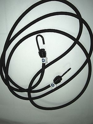 1m 2m , 3m , 4m or 5m  - 10mm BLACK BUNGEE / SHOCK CORD WITH HOOKS EITHER END