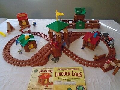 Vintage Lincoln Logs Frontier Train & Pony Express Set - Indian/Tent & Fort Lot