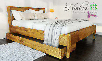 New solid wooden pine 5ft King Size bed frame with slats - oak colour 'F17'