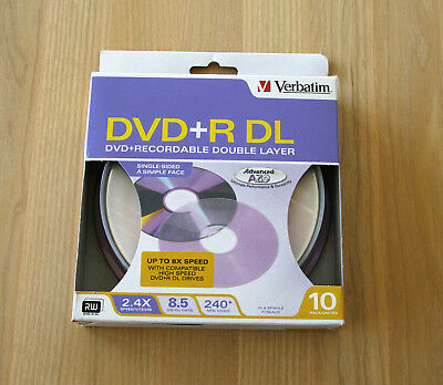 Verbatim DVD+R DL Double Layer Recordable Pack of 10 ea 8.5GB 2.4x 240Min SEALED