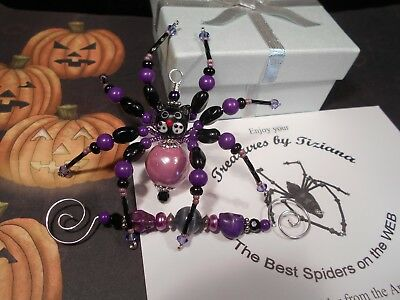 TreasuresbyTiziana® Beaded Halloween Spooky Black Cat Kitten Pet Skull Spider