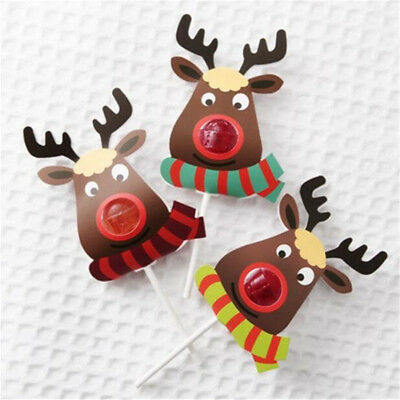 25pcs/pack Christmas Elk DIY Lollipop Stick Deer Candy Paper Xmas Party Decor