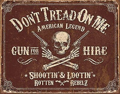 Gadsden Dont Tread on Me American Legend Gun For Hire 12.5x16 Metal Tin Sign