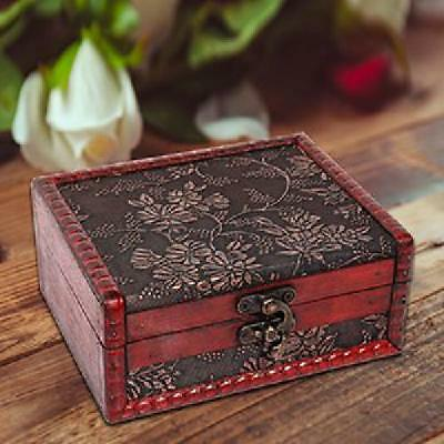 Small Vintage Jewelry Box Home Decor Wooden Treasure Chest Valentine Gift Case