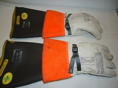 Estex Leather Lineman's Gloves, Insulating Rubber Inlays Size 9 In Canvas Basg