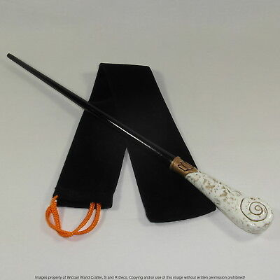 "15"" Hand Turned Carved Gold Queenie Mahogany Wood Magic Wand Witch Wicca Wizard"