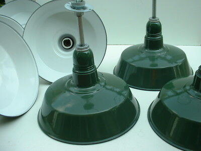 "(1) 18"" BENJAMIN Porcelain Industrial Green Barn Pendant Light Enamel Vtg B's"