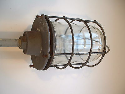 VTG 1940's Explosion Proof Russell & Stoll Brass Industrial Light Cage Globe