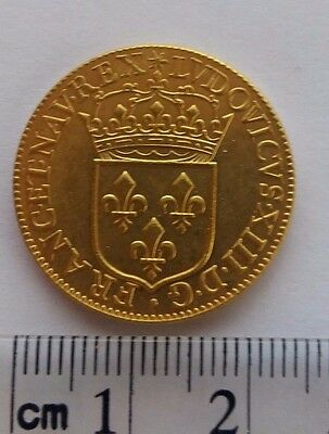 Kingdom of France 1642 Ecu d'or Louis XIII gold plated coin Re-strike