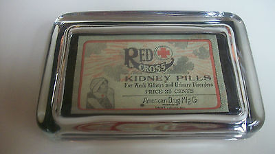 Red Cross Kidney Dr Nurse Medicine Drug Store Advertising Sign Glass Paperweight