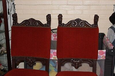 Two Beautiful Antique Horner / Flint Quartersawn Lion Head Dining Chairs
