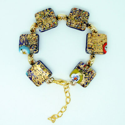 Gold and Multi-Coloured Handmade Murano Glass Bracelet from Venice