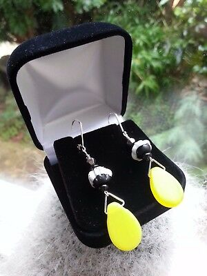 Antique Africa Trade vintage black & yellow beads EARRINGS  dog's teeth! silver
