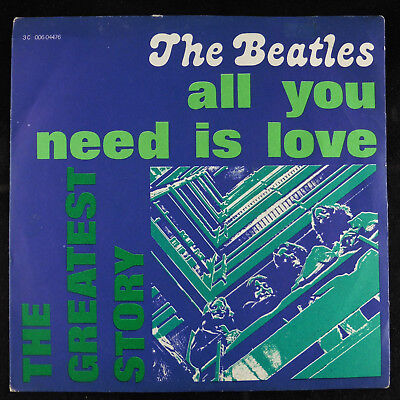 "7"" 45 single The Beatles All You Need Is Love Italian Pic VG/VG Apple"