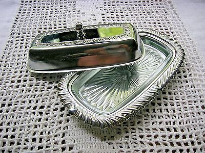Vintage Chromeplated Irvin Ware Butter Dish w/Glass Insert